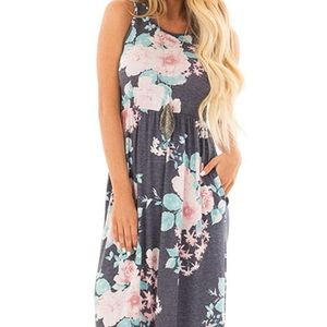 Long Maxi Dress - Gray with Pink Floral Print - Lg